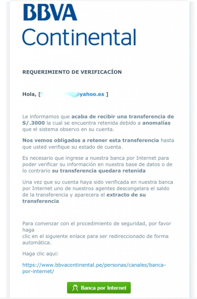 intento de estafa Phishing BBVA