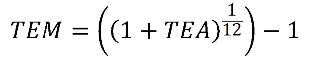 formula para convertir tasa efectiva anual a mensual