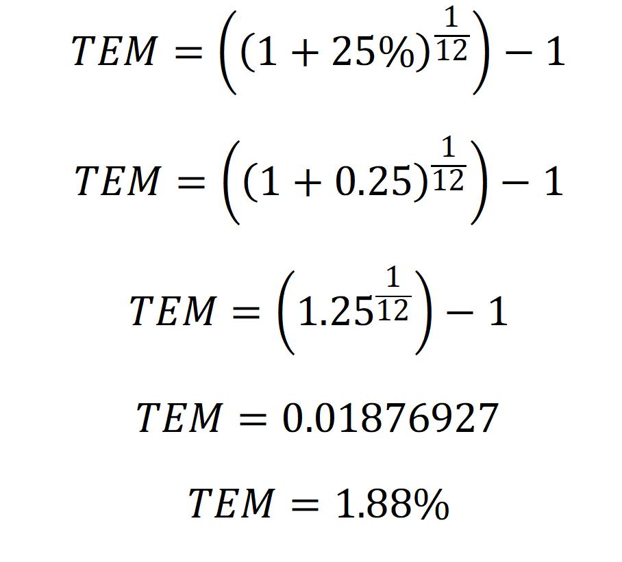 ejemplos de como convertir tasa efectiva anual a mensual