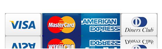 Tarjetas de crédito Visa, MasterCard, American Express y Diners Club